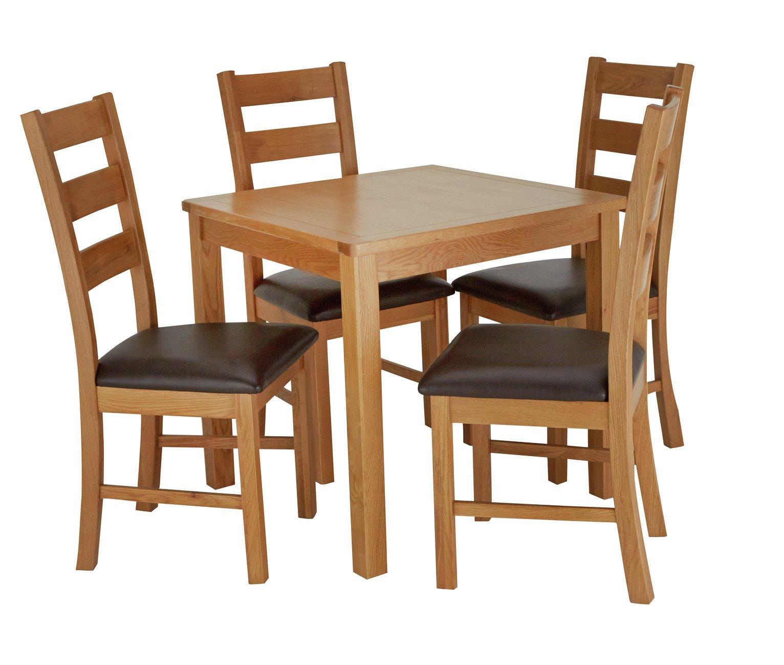 Argos Home Ashwell Oak Veneer Table & 4 Farmhouse Chairs