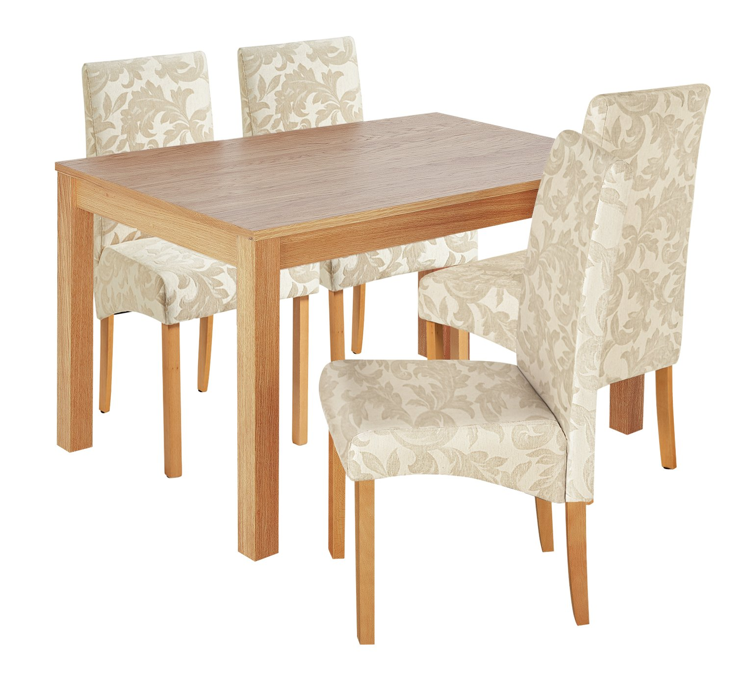 Argos Home Clifton Oak Dining Table & 4 Cream Damask Chairs