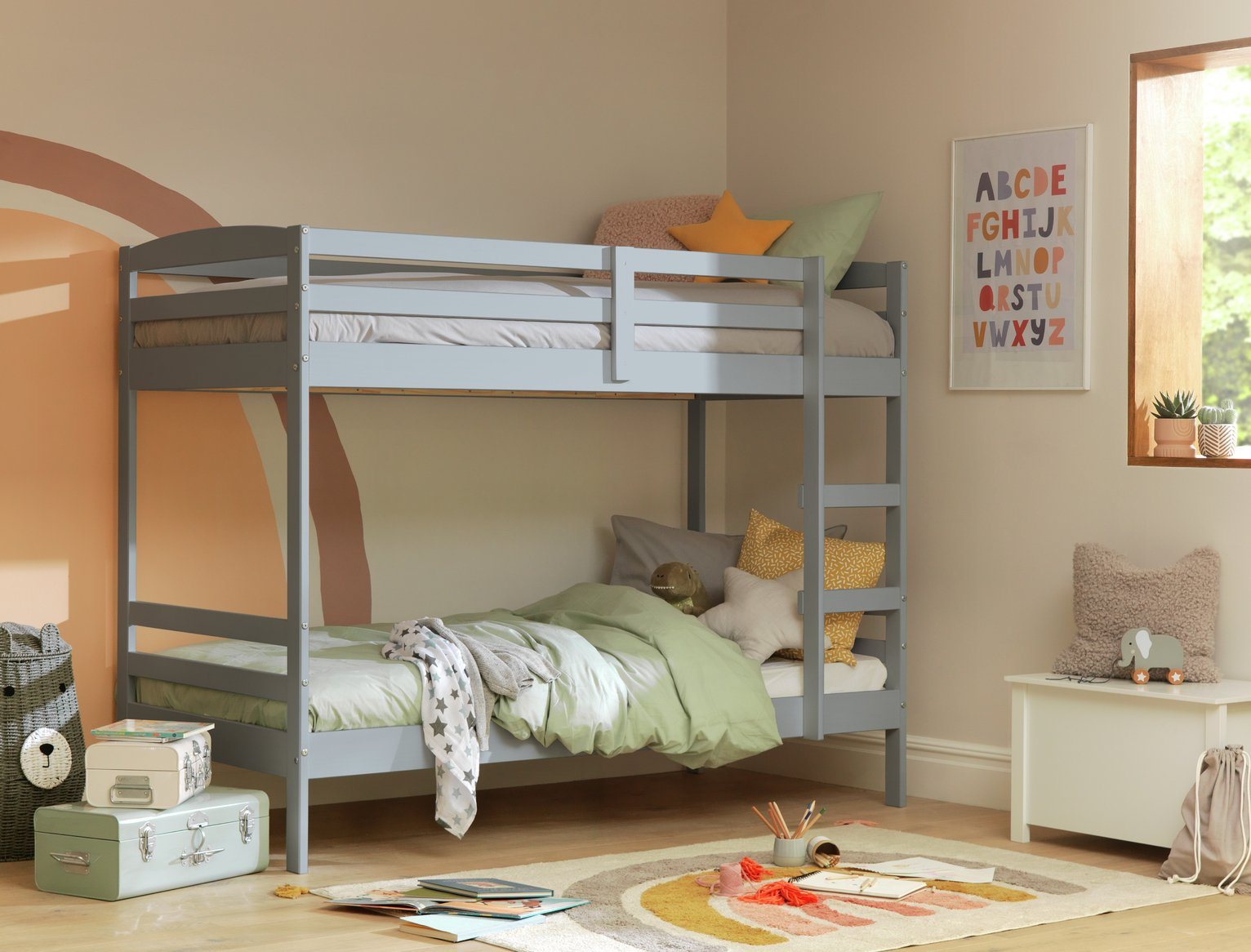 Argos Home Josie Grey Shorty Bunk Bed & 2 Kids Mattresses