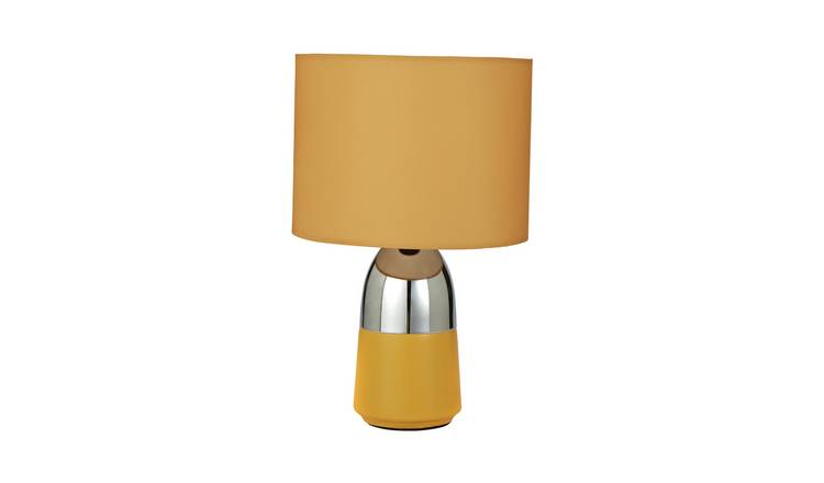 Argos Home Duno Mustard & Chrome Touch Table Lamp