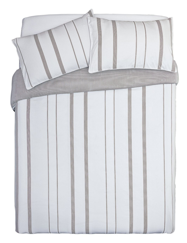 Argos Home Grey Yarn Dye Stripe Bedding Set - Kingsize