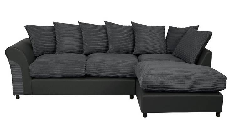 Argos Home Harry Large Right Corner Fabric Sofa - Charcoal