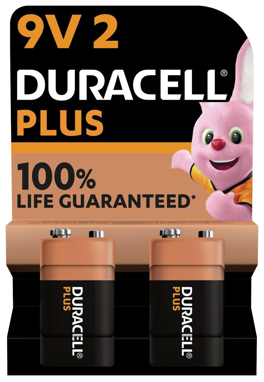 Duracell Plus Alkaline 9V Batteries - Pack of 2