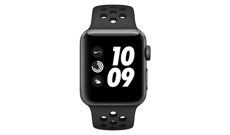 camión Escalera He aprendido  Buy Apple Watch Nike+ S3 2018 GPS 38mm - Grey Alu / Black Band | Fitness  and activity trackers | Argos