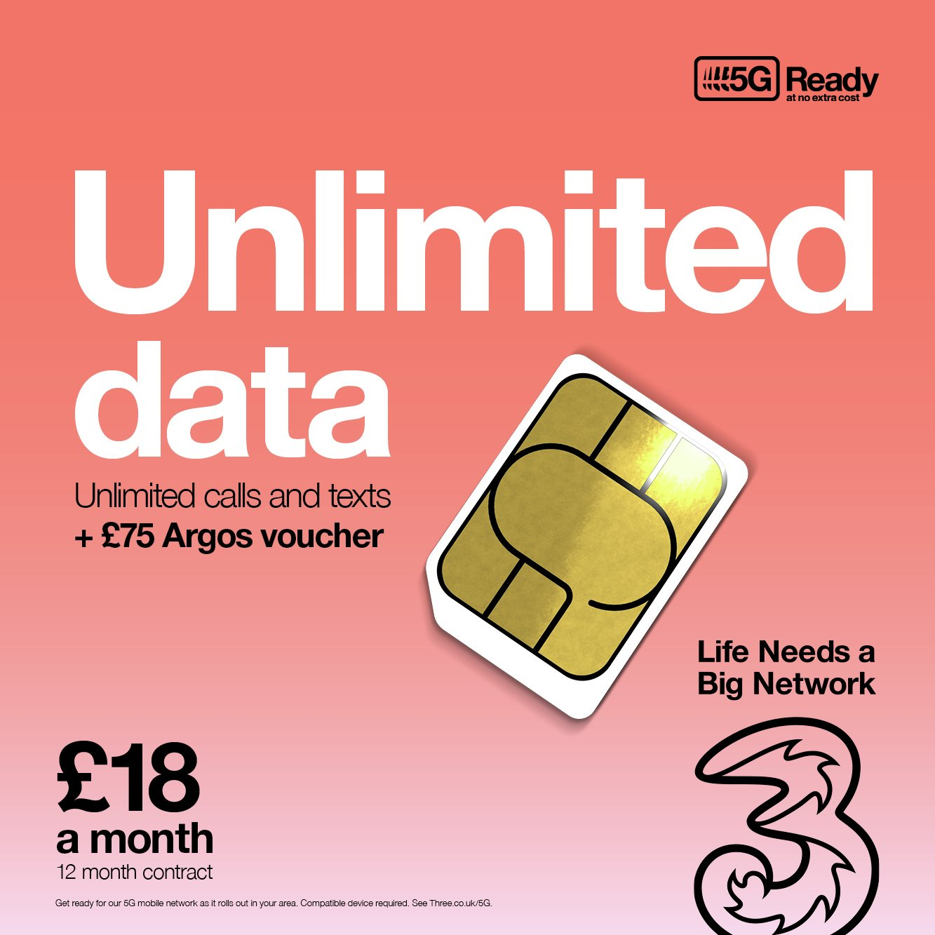 Three Unlimited 12 month Contract SIM Card