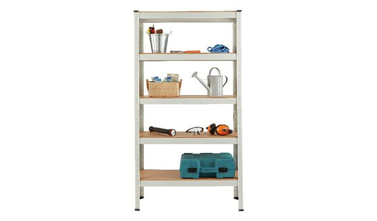 Argos Home 5 Tier Grey Steel Heavy Duty Garage Shelving Unit