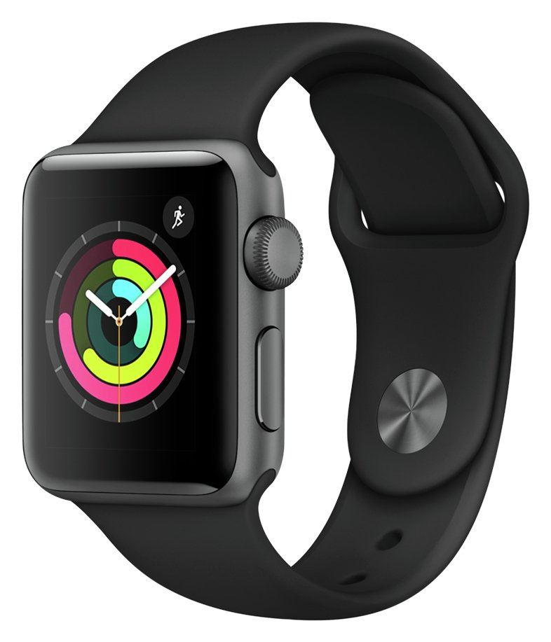 Apple Watch S3 2018 GPS 38mm-Space Grey Alu/Black Sport Band