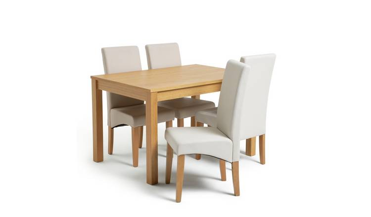 Habitat Clifton Oak Dining Table & 4 Cream Chairs