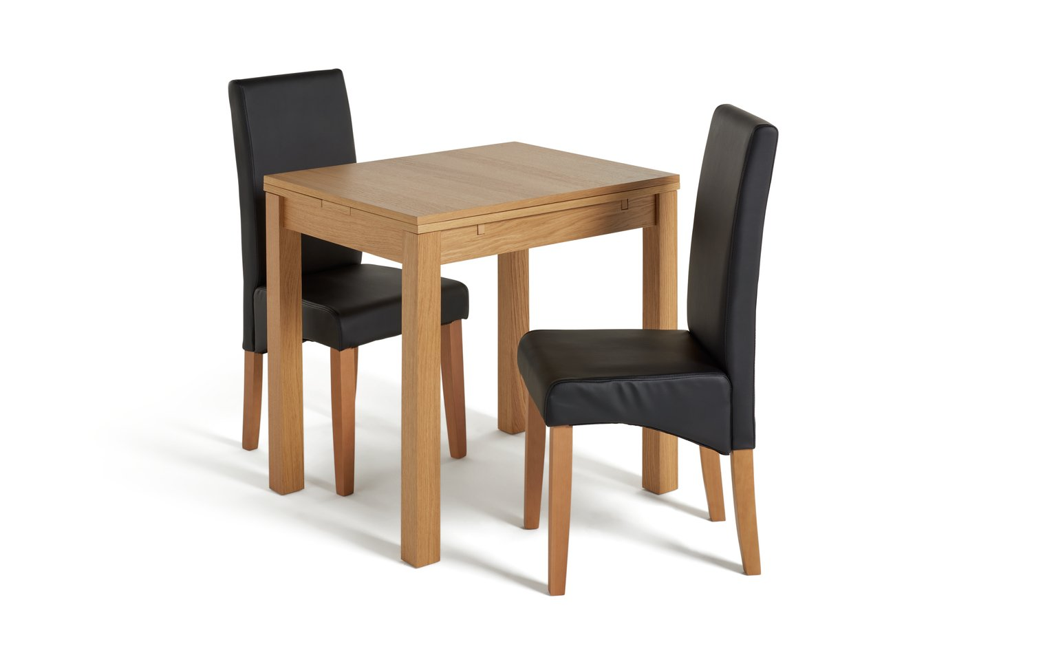 Argos Home Clifton Oak Extending Table & 2 Black Chairs