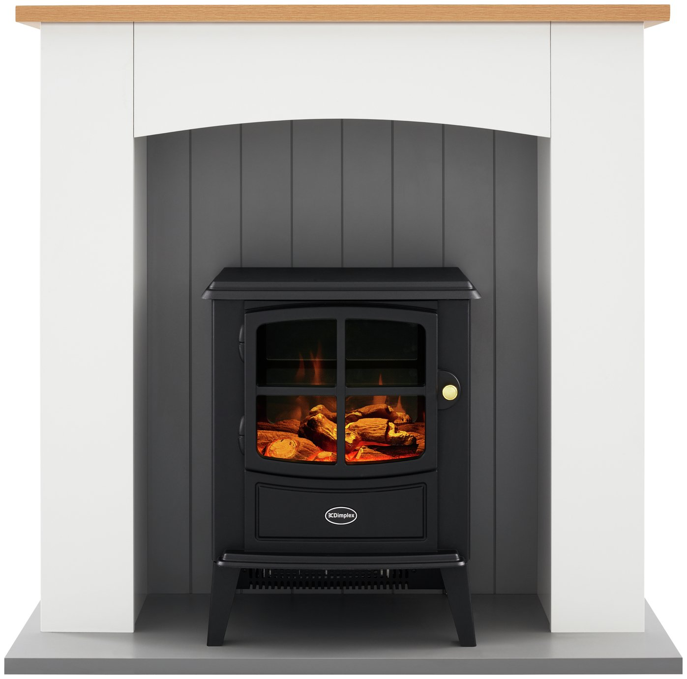 Dimplex Oakmead 2kW Electric Stove Fire Suite - Ivory & Oak