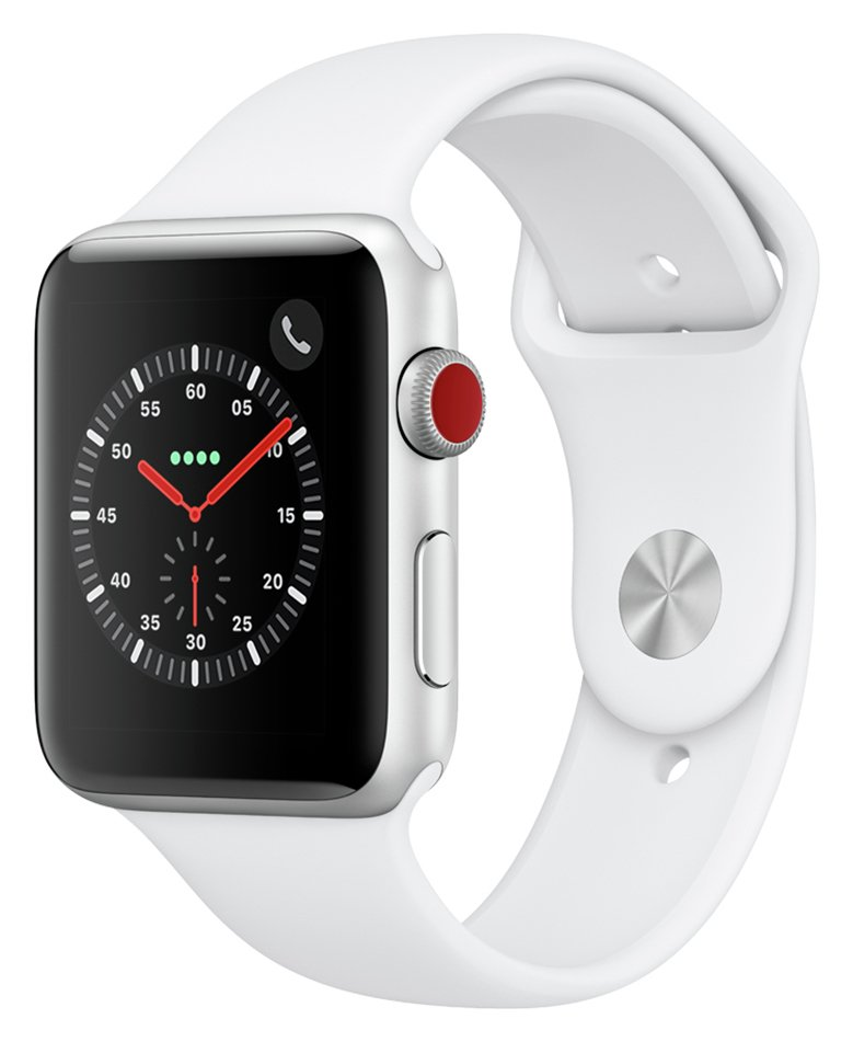 Apple Watch S3 2018 Cellular 42mm -  Alu / White Sport Band