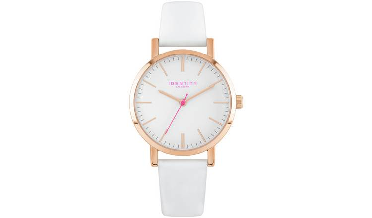 081f6cef8 Buy Identity Ladies Rose Gold White Leather Strap Watch | Womens ...