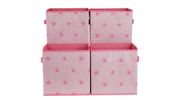 Argos Home Set of 4 Pink Star Canvas Boxes