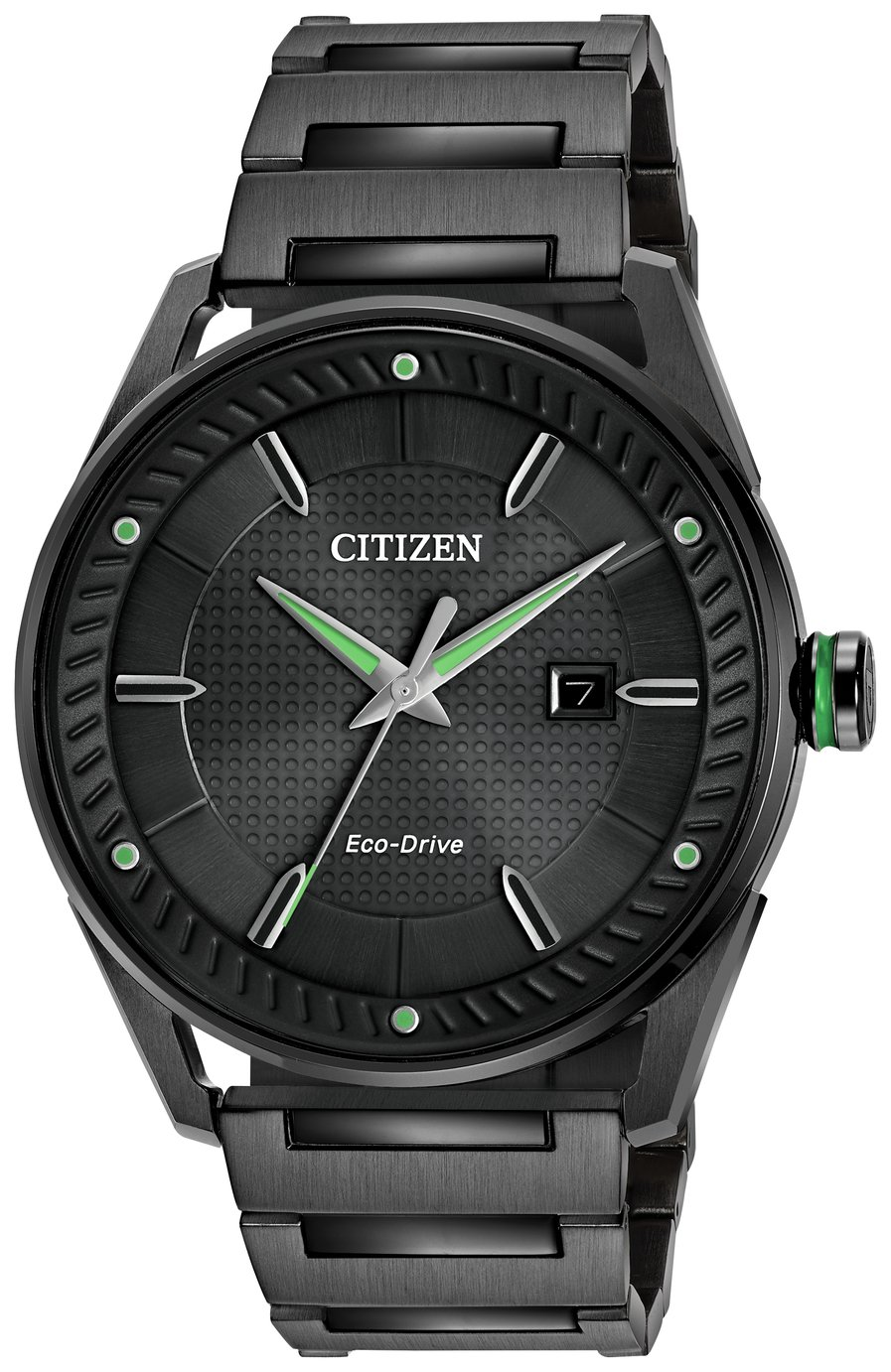 Citizen Black Dial Mens Stainless Steel Watch