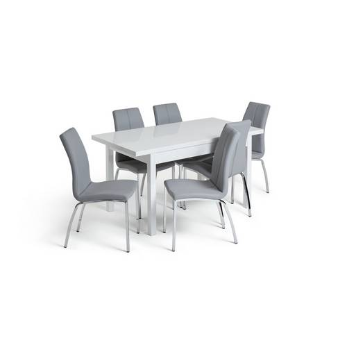 Argos Extending Dining Table And Chairs: Buy Argos Home Lyssa XL Gloss Extending Table & 6 Grey