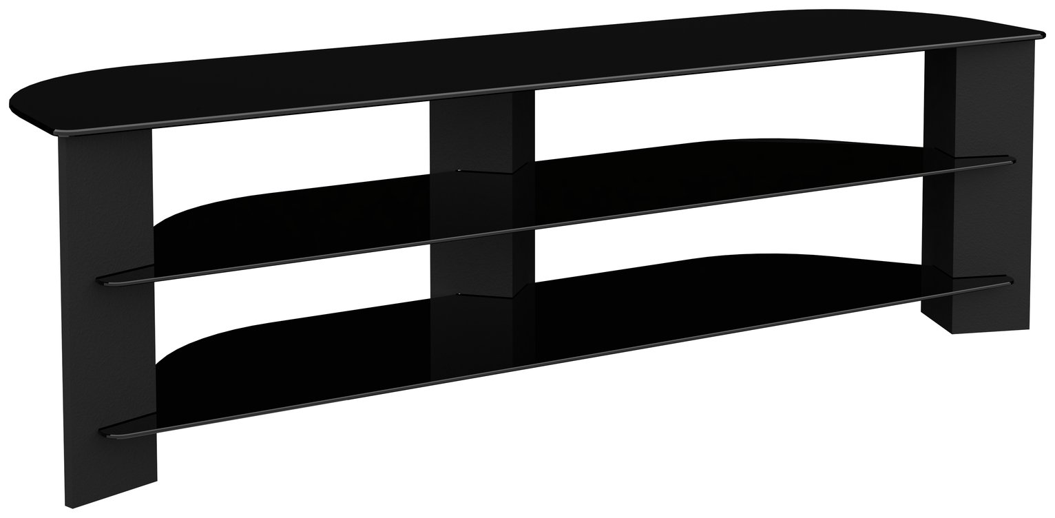AVF Up to 75 Inch TV Stand - Black Glass and Wood Effect