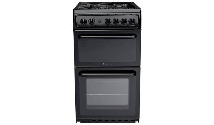 Hotpoint HD5G00KCB 50cm Twin Cavity Gas Cooker - Black