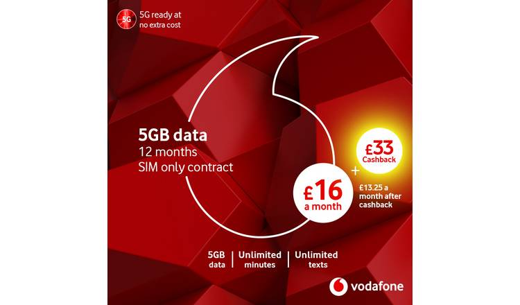 Buy Vodafone 12 Month Contract 5GB Data SIM Card | Mobile phone SIM cards |  Argos