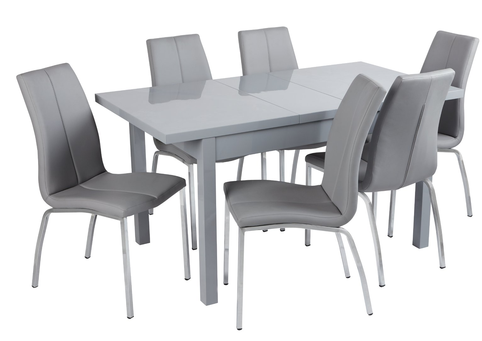 Argos Home Lyssa Extendable Grey Table & Milo Chairs - Grey