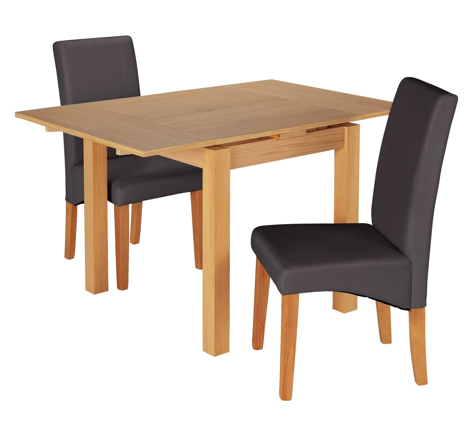 Argos Home Clifton Oak Extending Table & 2 Charcoal Chairs