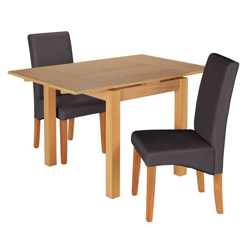 Buy Argos Home Clifton Oak Extending Table & 2 Charcoal