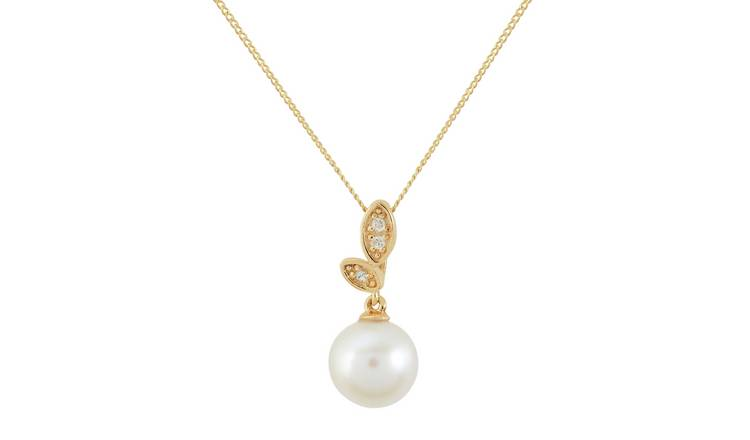 Freshwater cultured Pearl Pendant Necklace 16 Inches Round