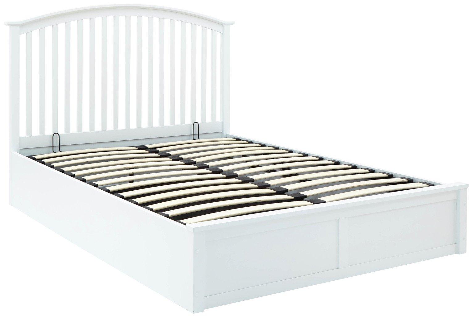 GFW Madrid White Ottoman Double Bed Frame