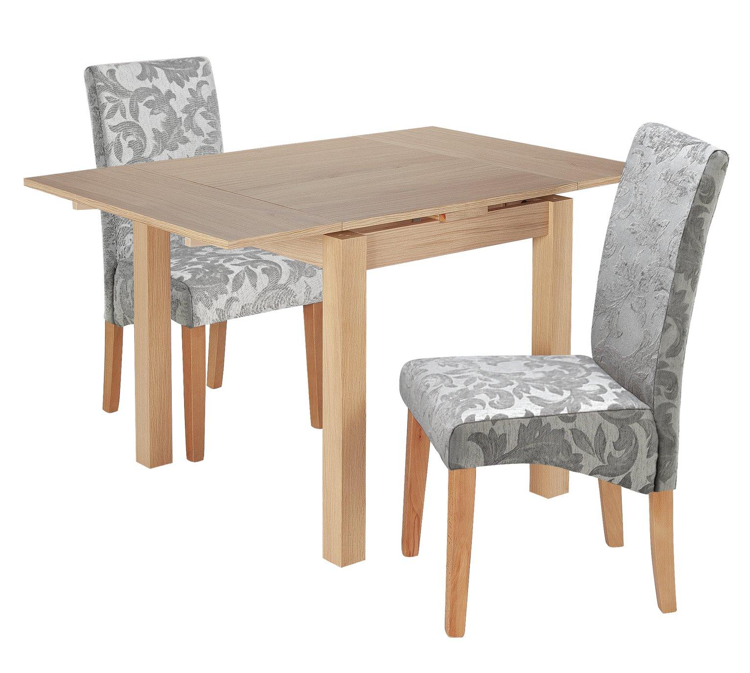 Argos Home Clifton Oak Extending Table & 2 Grey Damask Chair