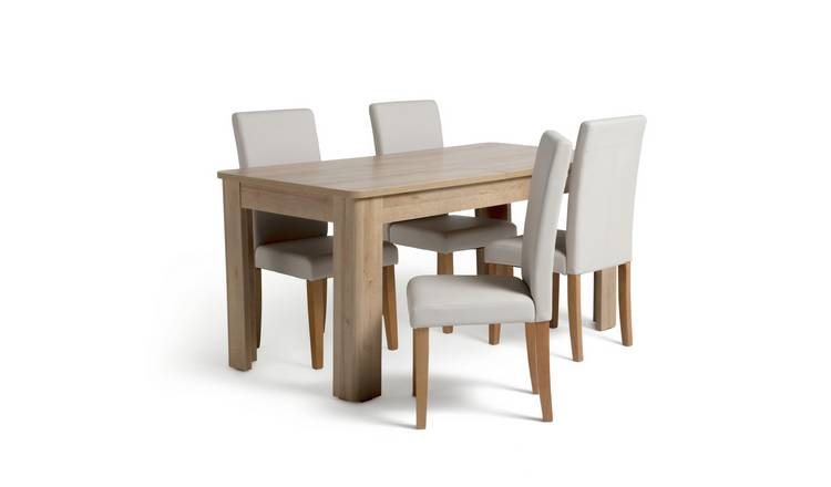 Buy Habitat Miami Curve Extending Table 4 Cream Chairs Dining Table And Chair Sets Argos