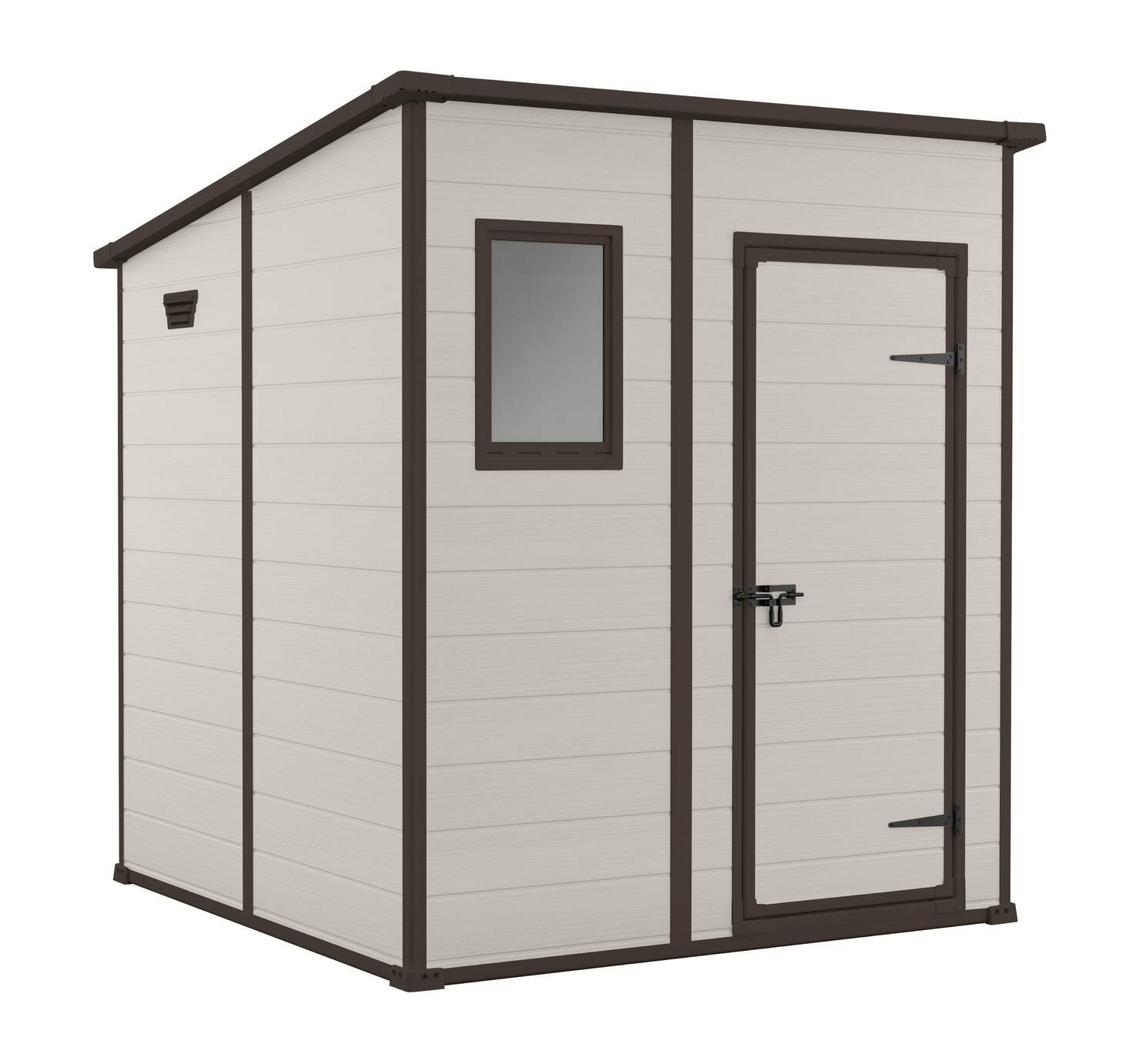 Keter Manor Pent Garden Storage Shed 6 x 6ft - Beige/Brown