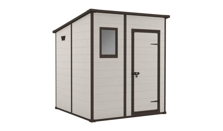 Keter Manor Pent Garden Storage Shed 6 x 6ft – Beige/Brown