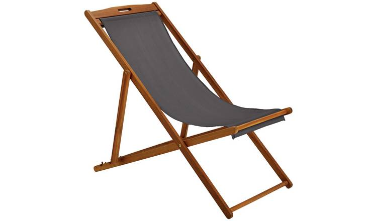 Argos Home Wooden Deck Chair - Grey 0