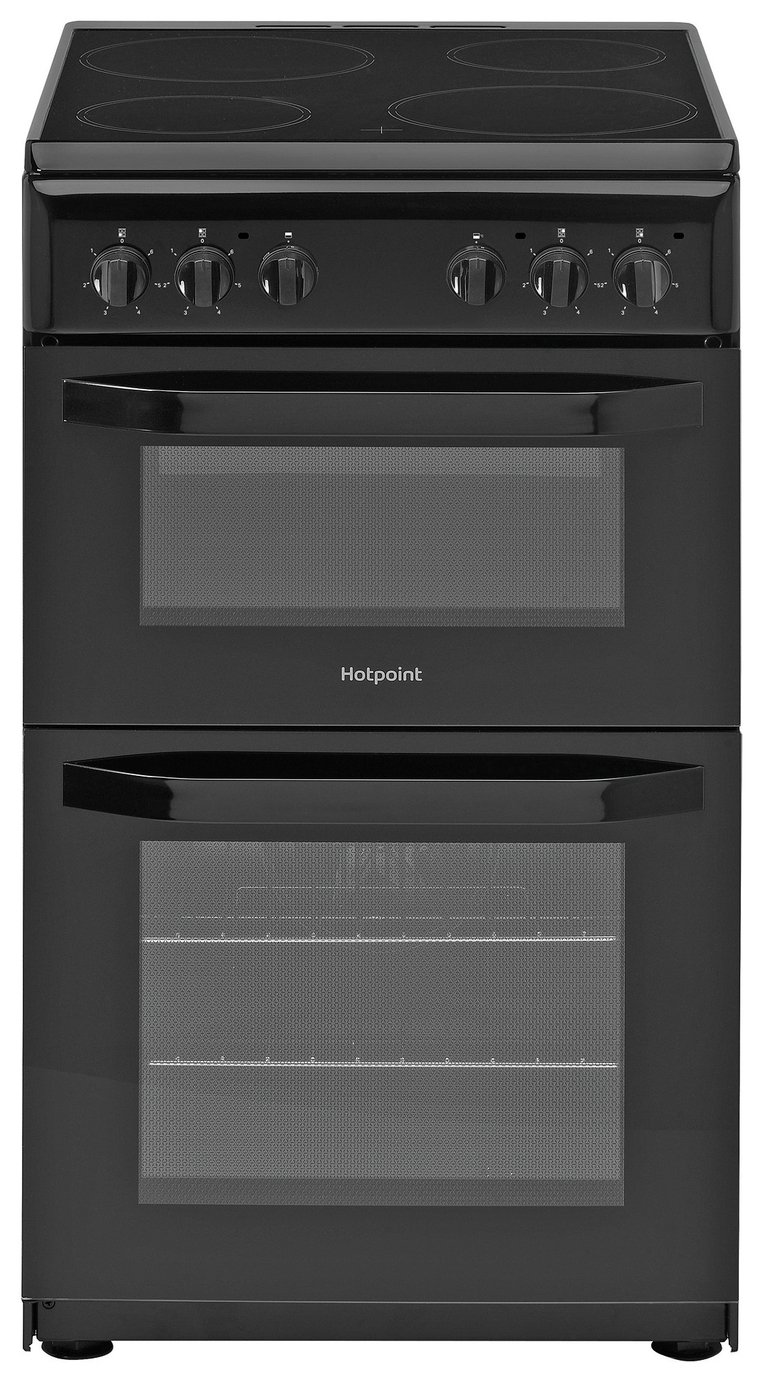 Hotpoint HD5V92KCB 50cm Twin Cavity Electric Cooker - Black
