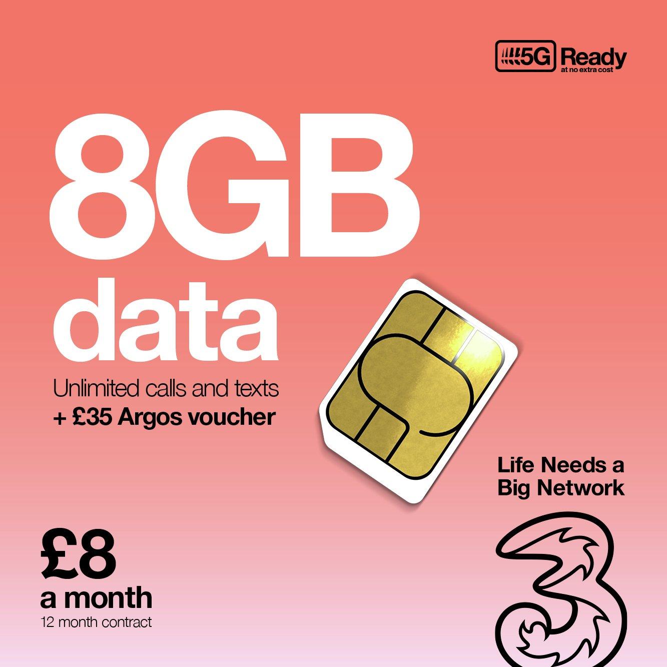 Three  8GB Data 12 Months SIM Card