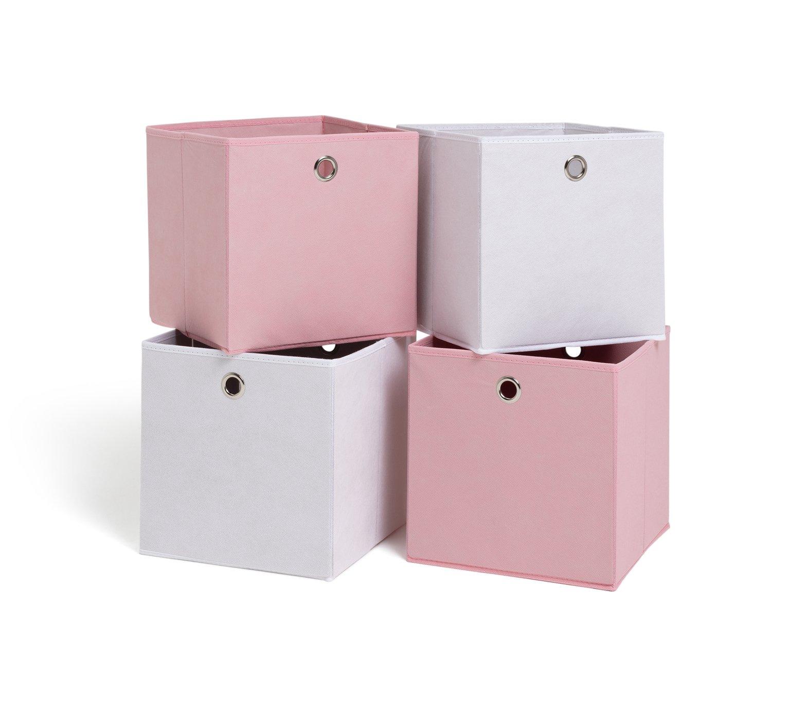 Habitat Set of 4 Squares Boxes - Baby Pink & Off-White