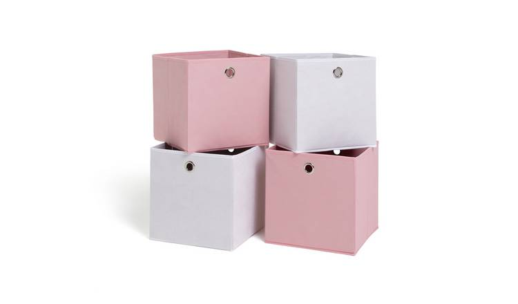 Habitat Set of 4 Squares Boxes - Baby Pink & Off-White
