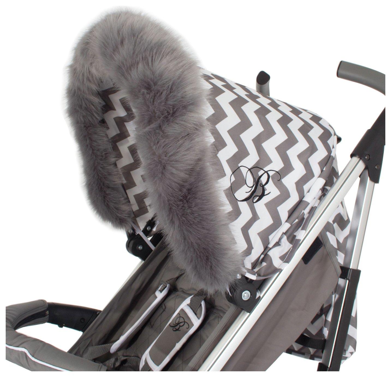 My Babiie Grey Fur Stroller Hood Trim