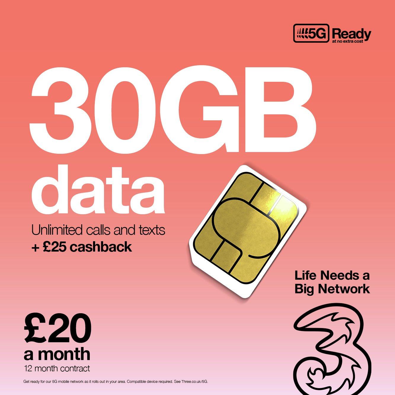 Three 30GB Data 12 Month Contract SIM Card