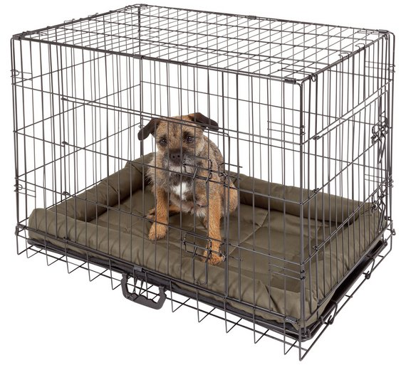 Buy Double Door Pet Cage Medium Dog Kennels And Crates Argos