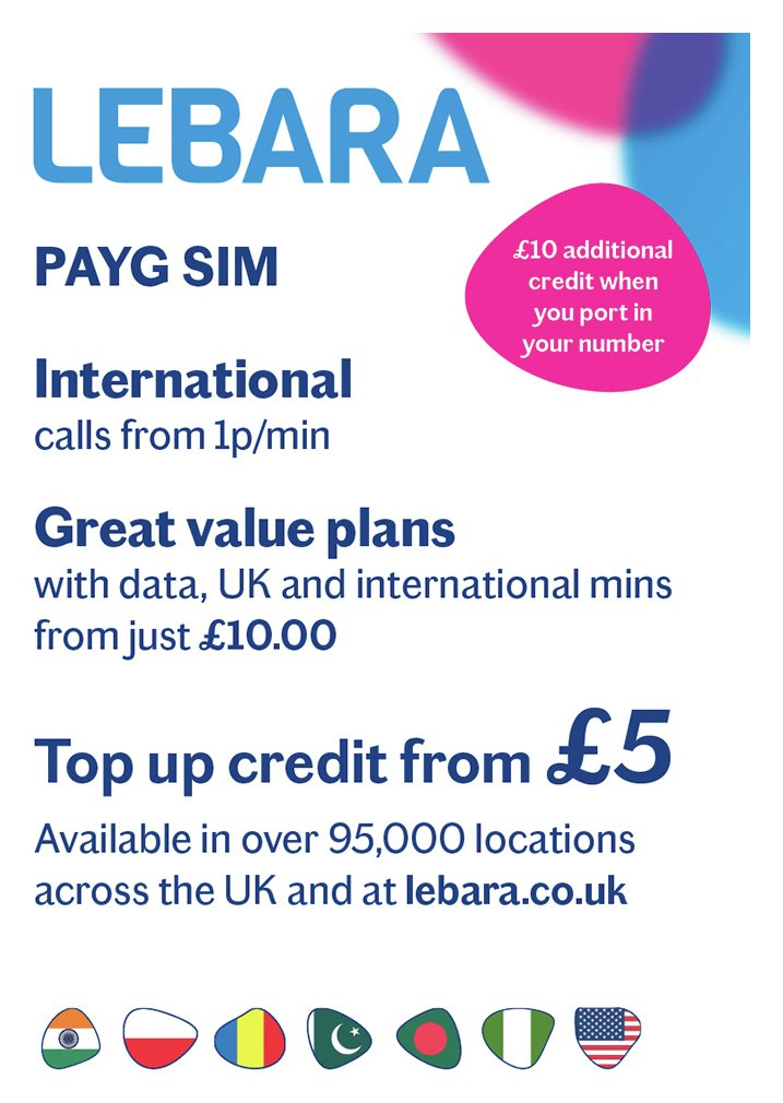 Lebara Pay As You Go SIM Card