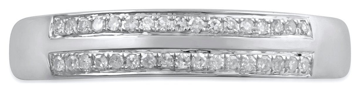 Revere 9ct White Gold 0.10ct tw Diamond Double Row Band Ring