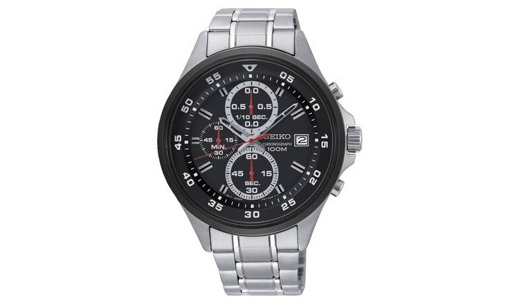Buy Seiko Black Dial Mens Stainless Steel Strap Watch Men S Watches Argos