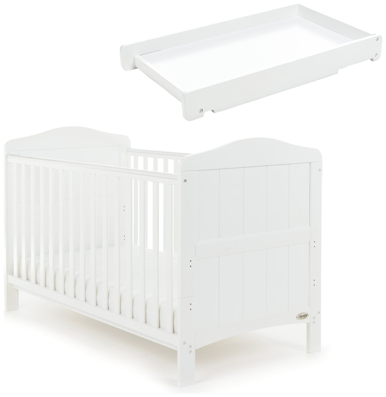 Obaby Whitby Cot Bed and Cot Top Changer - White