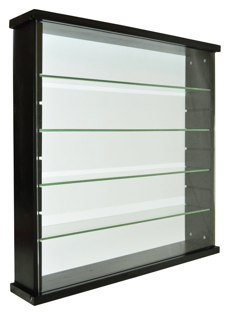 Image of Single Door Solid Wood and Glass Display Cabinet - Black