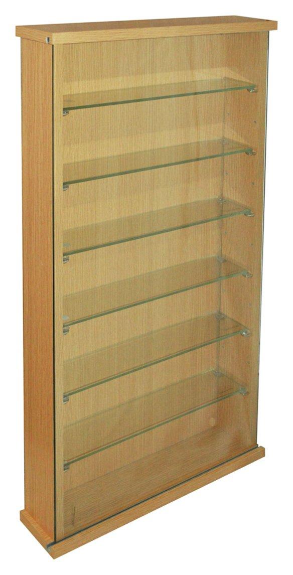 Image of Single Door 6 Glass Shelf Display Cabinet - Oak Effect