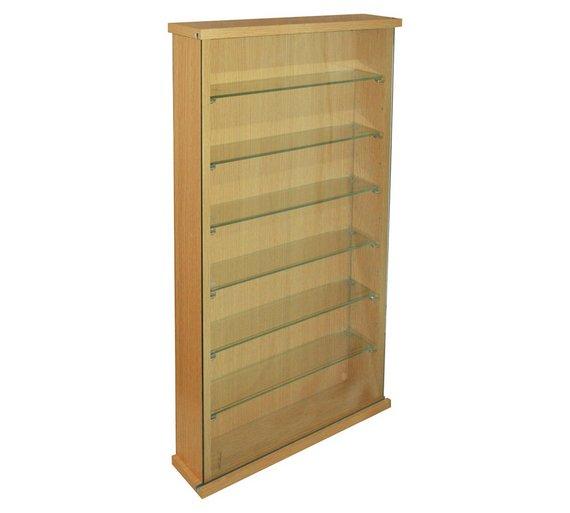 buy oak effect 6 glass shelf display cabinet at. Black Bedroom Furniture Sets. Home Design Ideas