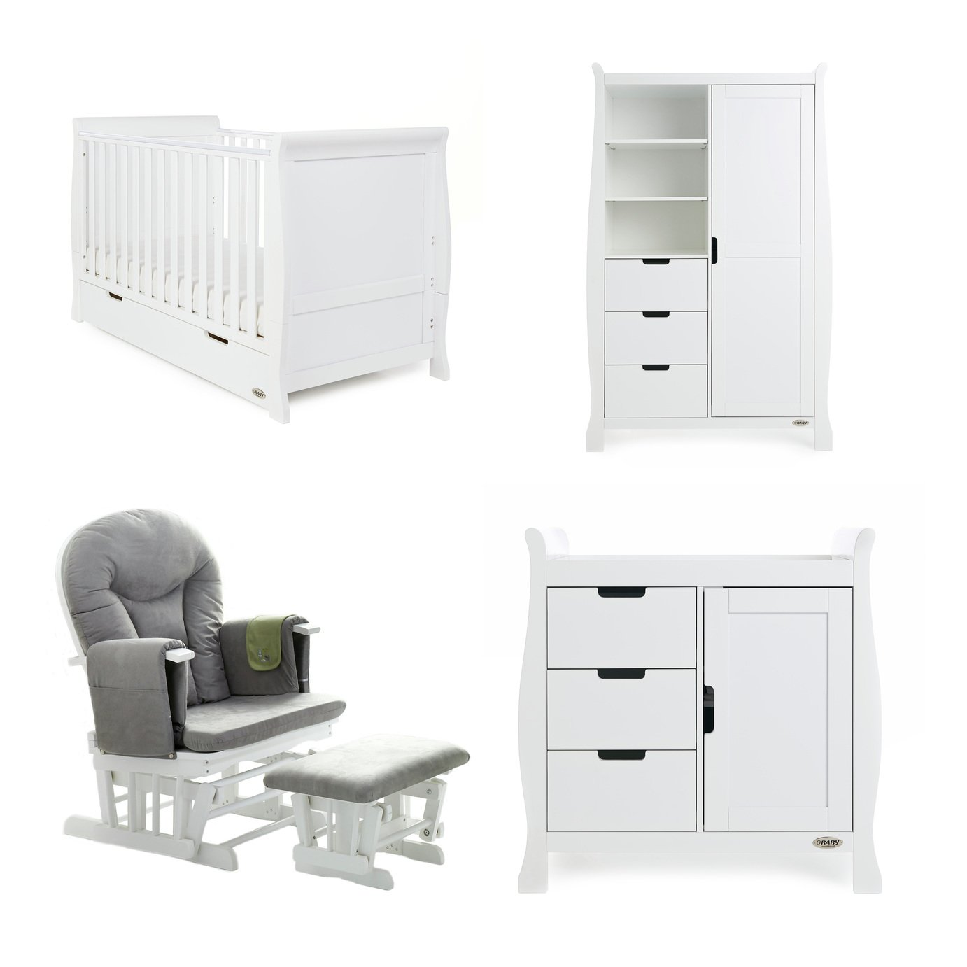 Obaby Stamford Classic 3 Piece Set & Glider Chair - White