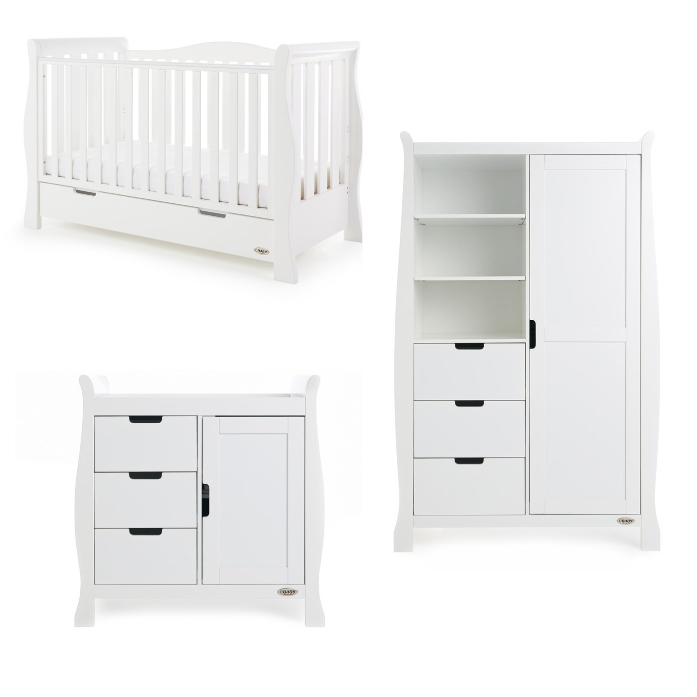 Obaby Stamford Luxe Sleigh 3 Piece Room Set - White