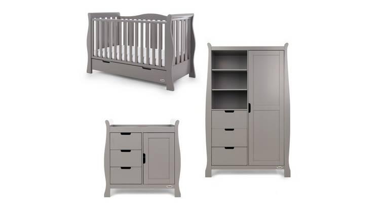 Wooden Nursery Furniture Obaby Stamford Sleigh Changing Unit Taupe Grey