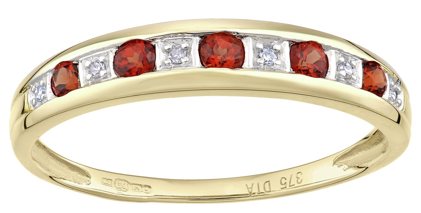 Revere 9ct Yellow Gold Garnet and Diamond Eternity Ring